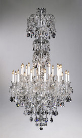 Bohemian Style Twenty Four Light Imperial Lead Crystal - 71.5 Inch Entry Chandelier - Glass Frame