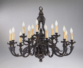 German Rococo Fifteen Light Solid Brass 39 Inch Chandelier - Aged Bronze Finish