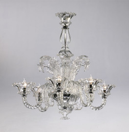 Giardini Italiani Pattern - Six Light Crystalline Glass Chandelier