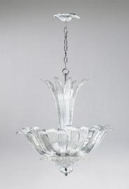Foglie di Vetro Pattern - Transparent Ice Glass - Four Light Chandelier Pendant