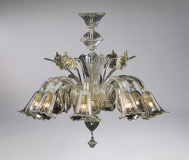 Bellissimi Fiori Pattern - Ice and Golden Teak Eight Light Chandelier