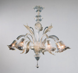 Bellissimi Fiori Pattern - Ice and Golden Teak Six Light Chandelier
