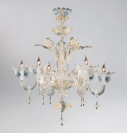 Daffodil Bella Pattern - Ice and Golden Teak Six Light Chandelier