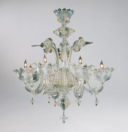 Daffodil Bella Pattern - Ice and Golden Teak Eight Light Chandelier