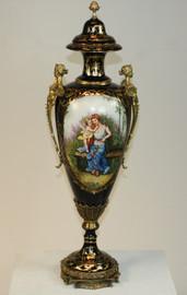 L'enfant d'avoir de Femme, Fine French Luxury Hand Painted Reproduction Sevres Porcelain and Gilt Bronze Ormolu, 31 Inch Palace Urn