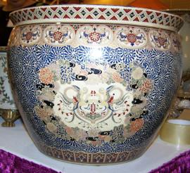 Bird of Paradise - Luxury Handmade Reproduction Chinese Porcelain - 16 Inch Fish Bowl | Planter | Side Table Base Style 35