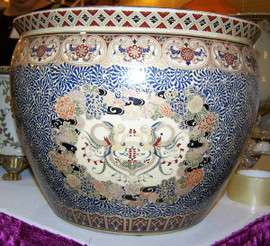 Bird of Paradise - Luxury Handmade Reproduction Chinese Porcelain - 16 Inch Fish Bowl | Fishbowl | Planter | Side Table Base Style 35