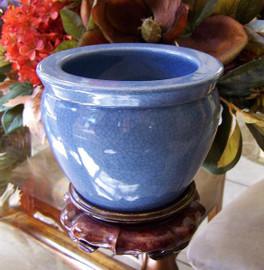 Medium Blue Decorator Crackle - Luxury Handmade Chinese Porcelain - 06 Inch Fish Bowl | Planter - Style 35