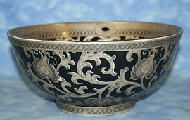 Ebony Black and Gold Lotus Scroll - Luxury Handmade Reproduction Chinese Porcelain - 12 Inch Round Centerpiece Bowl Style 78