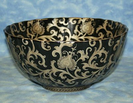 Ebony Black and Gold Lotus Scroll - Luxury Handmade Reproduction Chinese Porcelain - 12 Inch Scalloped Edge Centerpiece Bowl Style d78