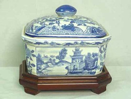 A Blue and White Pagoda - Luxury Handmade Reproduction Chinese Porcelain - 7 Inch Decorative Container - Style 77