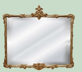 Classic Elements 37w X 32t Buffet, Mantle Beveled Glass Reproduction Mirror - Gold Baroque Finish