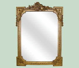 Classic Elements 29w X 40t Rectangular Shape Beveled Glass Reproduction Mirror, Black Finish with Gilding