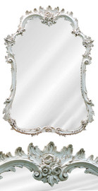 """Classic Elements 40""""t X 28""""w Rectangular Shape Reproduction Mirror, Distressed White Finish, 6889"""