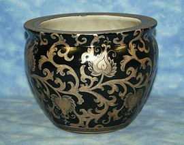 Ebony Black and Gold Lotus Scroll - Luxury Handmade Reproduction Chinese Porcelain - 10 Inch Fish Bowl | Planter Style 35