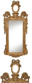 "Classic Elements, 28.5""t x 12""w Rectangular Shape Plate Glass Reproduction Mirror, Custom Gilt Finish, 6887"