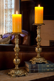 #Grand Baroque - Indian Brass Pillar Candle Holder Pair - 14 Inch Classic Candlestick - Antique Brass Finish