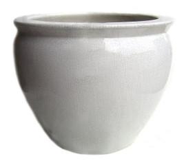 White Ivory Decorator Crackle - Luxury Handmade Chinese Porcelain - 12 Inch Fish Bowl | Planter - Style 35