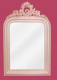 "Classic Elements, 28""t x 18""w Rectangular Shape Beveled Glass Reproduction Mirror, Custom Baby Pink Finish, 6882"
