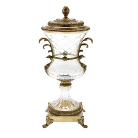 ***| Transparent White Cut Crystal d'Elegance and Gilt Bronze Ormolu, 18 Inch Round Covered Urn