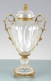 Italian White Cut Crystal d'Elegance and Gilt Bronze Ormolu, 22 Inch Round Covered Urn
