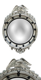 """Classic Elements, Federal Regency 31""""t x 22""""w Round Reproduction Beveled Glass Mirror, Custom Silver Finish, 6883"""