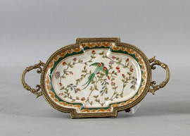 Avian & Floral Pattern, Luxury Hand Painted Porcelain and Gilt Bronze Ormolu, Pair of 6 inch Coasters | Small Dishes