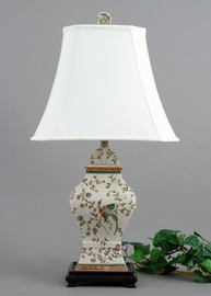 Avian & Floral Pattern - Luxury Hand Painted Porcelain - 28 Inch Tabletop Oriental Lamp 3661 ND - Tabletop Oriental Lamp