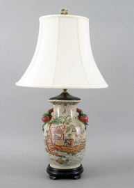 My Own Private Island Pattern - Luxury Hand Painted Porcelain - 29 Inch Tabletop Oriental Lamp