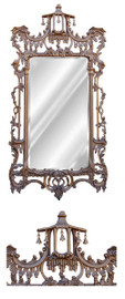 """#Classic Elements 62""""t X 31""""w x 4""""d Rectangular Shape Beveled Glass Chinese Chippendale Reproduction Mirror, Custom Antique Gold Finish, 6880"""