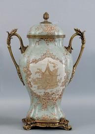 Celadon Serenity Pattern, Luxury Hand Painted Porcelain and Parcel Gilt Bronze Ormolu, 17 Inch Cassolette Urn | Covered Jar