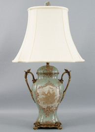 Celadon Serenity Pattern - Luxury Hand Painted Porcelain and Gilt Bronze Ormolu - 33 Inch Tabletop Lamp