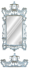"""#Classic Elements 62""""t X 31""""w x 4""""d Rectangular Shape Beveled Glass Chinese Chippendale Reproduction Mirror, Contemporary Distressed White Finish, 6879"""