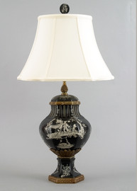 Ebony Black Toile Pattern - Luxury Hand Painted Porcelain and Gilt Bronze Ormolu - 28 Inch Tabletop Lamp