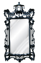 """#A Classic Elements 62""""t X 31""""w x 4""""d Rectangular Shape Beveled Glass Chinese Chippendale Reproduction Mirror, Contemporary Gloss Black Finish, 6878"""