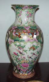 A Figural Scene Gold Rose Medallion - Luxury Handmade Reproduction Chinese Porcelain - 12 Inch Flower | Mantel Vase - Style 3