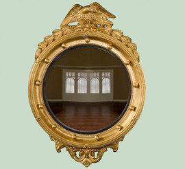 """Classic Elements, Federal Regency 31""""t x 22""""w Round Reproduction Beveled Glass Mirror, Custom Finish, 6875"""
