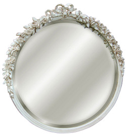 """Classic Elements, 31""""t x 31""""w Round Shape Beveled Glass Reproduction Mirror, Distressed White Finish, 6874"""