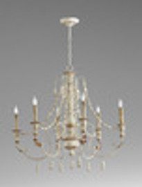 French Country Style - Wrought Iron and Wood Six Light Chandelier - Distressed French White Finish