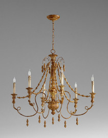 French Country Style - Wrought Iron and Wood Six Light Chandelier - French Gold Finish 6868 DYC