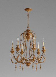 French Country Style - Wrought Iron and Wood Six Light Chandelier - French Gold Finish