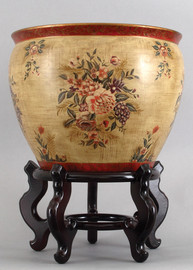 Mixed Bouquet, Luxury Hand Painted Porcelain, 16 Inch Fish Bowl   Planter