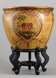 Majestic Elephant, Luxury Hand Painted Porcelain, 16 Inch Fish Bowl   Planter