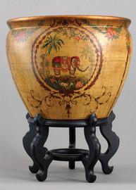Majestic Elephant, Luxury Hand Painted Porcelain, 16 Inch Fish Bowl | Fishbowl | Planter