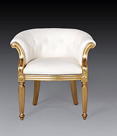 Giltwood Neo Classical Style - 30.5 Inch Accent Chair - White Leather Upholstery