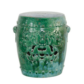 A Finely Finished Ceramic Garden Stool, 19 Inch, Antiqued Turquoise Finish