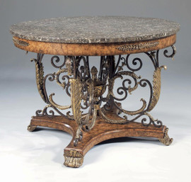 Iron, Brass, and Burl - Hardwood and Natural Stone - 46 Inch Round Entry Foyer | Center Table
