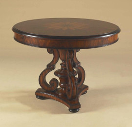 Lightly Carved Hardwood and Marquetry Inlay - 41 Inch Round Pedestal Tripod Entry Foyer | Center Table - Bunn Feet Design