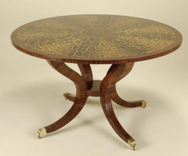Art Deco Style - Rare Leopard Marquetry Pattern - Hardwood 50 Inch Round Entry Foyer | Center Table