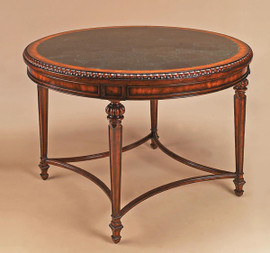 Solid Hardwood and Veneers - 42 Inch Round Entry Foyer | Center Table - Rich Wood Finish